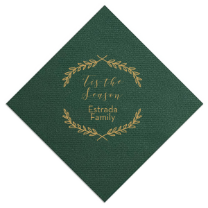 The ever-popular Hunter Green Linen Like Cocktail Napkin with Satin 18 Kt. Gold Foil has a Branch Frame graphic and a 'Tis the Season saying, perfect for Winter, Holiday and Christmas  themed parties and are a must-have for your next event—whatever the celebration!