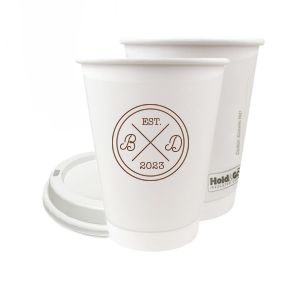ForYourParty's elegant Matte Chocolate Ink 12 oz Paper Coffee Cup with Matte Chocolate Ink Screen Print has a Badge Frame graphic and a Sip Sip Hooray graphic and is good for use in Birthday, wedding and General  parties and will add that special attention to detail that cannot be overlooked.