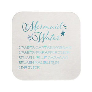 ForYourParty's chic Eggshell Square Coaster with Shiny Turquoise Foil can't be beat. Showcase your style in every detail of your party's theme!