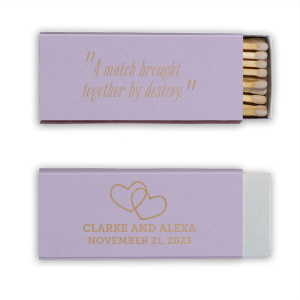Create wedding details so perfect, they're destiny. Customize these matches for a personalized party favor guests will love! Our Interlocking Hearts graphic will fit any theme. Simply choose your colors and add your names and date.