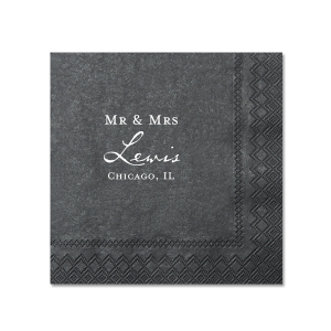 Our custom Black Cocktail Napkin with Matte White Foil will make your guests swoon. Personalize your party's theme today.