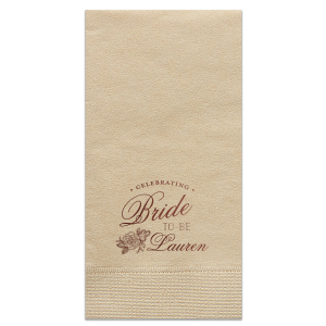 ForYourParty's personalized Sand Cocktail Napkin with Shiny Merlot Foil has a Peony Accent and lovely Bride To-Be wording, perfect for an elegant Bridal Shower and can be customized to complement every last detail of your party.