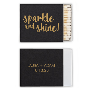 Our custom Natural Black Classic Matchbox with Satin 18 Kt. Gold Foil will give your party the personalized touch every host desires.