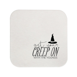 Custom White Square Coaster with Matte Black Foil has a Witch's Hat graphic and is good for use in Halloween themed parties and will make your guests swoon. Personalize your party's theme today.