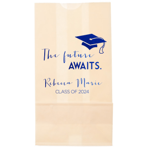 Our beautiful custom Ivory Party Bag with Shiny Royal Blue Foil has a Cap graphic and is good for use in Graduation themed parties and will impress guests like no other. Make this party unforgettable.