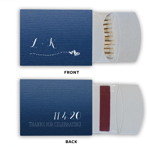 ForYourParty's personalized Linen Navy Blue Triangle Matchbox with Matte White Foil Color has a Sketchy Heart Line graphic and is good for use in Love themed parties and will impress guests like no other. Make this party unforgettable.