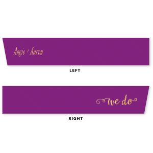 "ForYourParty's elegant Plum 5/8"" Satin Ribbon with Shiny 18 Kt Gold Foil has a We Do 3 graphic and is good for use in Wedding themed parties and can't be beat. Showcase your style in every detail of your party's theme!"