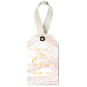 Custom Marble Blush Luggage Gift Tag with Shiny 18 Kt Gold Foil will add that special attention to detail that cannot be overlooked.