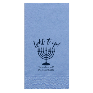 ForYourParty's chic Tiffany Blue Cocktail Napkin with Matte Navy Foil has a Menorah graphic and is good for use in Jewish, Hanukkah and Holiday themed parties and couldn't be more perfect. It's time to show off your impeccable taste.
