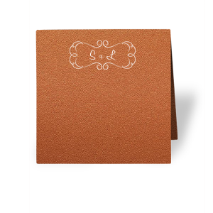 ForYourParty's chic Stardream Copper Classic Place Card with Matte White Foil has a Ornate Frame graphic and is good for use in Chic parties and can't be beat. Showcase your style in every detail of your party's theme!