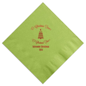 Personalize Kiwi napkins for beautiful table and barware additions at your Christmas party. Our O Christmas Tree design and clip art make them perfect for a holiday party filled with cheer!