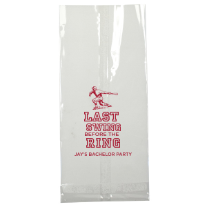 Celebrate his last swing before the ring! Ideal for a baseball themed bachelor party, personalize these goodie bags to supply the guys with a welcome gift, party favors or hang over kit. Our Baseball Player graphic and classic varsity sports block font will be the perfect complement to your groom's name.