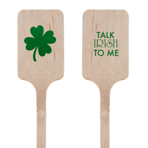 Custom Shiny Leaf Round Stir Stick with Shiny Leaf Foil has a Four Leaf Clover graphic and is good for use in Holiday, St. Patricks Day themed parties and will make your guests swoon. Personalize your party's theme today.