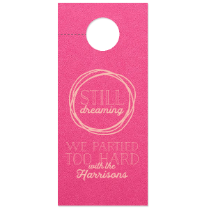 Custom Poptone Fuschia Door Hanger with Matte Pastel Pink Foil Color has a Circle Doodle Frame graphic and is good for use in Frames themed parties and couldn't be more perfect. It's time to show off your impeccable taste.