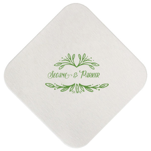 ForYourParty's personalized Eggshell Square Coaster with Matte Moss Green Foil Color has a Rustic Leaf Frame graphic and is good for use in Frames themed parties and will look fabulous with your unique touch. Your guests will agree!