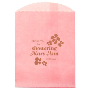 Personalized Pink Party Bag with Satin Copper Penny Foil has a Daisy Frame graphic and is good for use in Trendy, Floral, Wedding themed parties and will impress guests like no other. Make this party unforgettable.
