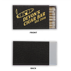 ForYourParty's elegant Black Classic Leather Matchbox with Shiny 18 Kt Gold Foil Color has a Cigar graphic and is good for use in a Father's Day, Retirement, or Birthday themed parties and will add that special attention to detail that cannot be overlooked.