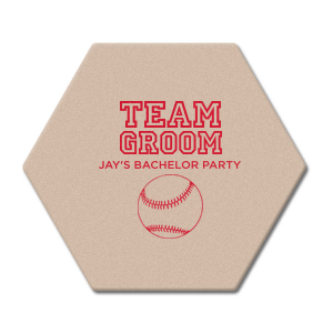 "Team Groom - Hexagon Coasters - Personalized - Set of 75 - 4 x 4"""" by ForYourParty.com"