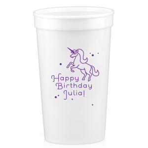Our custom White 32 oz Stadium Cup with Matte Amethyst Ink Screen Print has a Unicorn graphic and is good for use in Animals, Kid Birthday themed parties and can be personalized to match your party's exact theme and tempo.