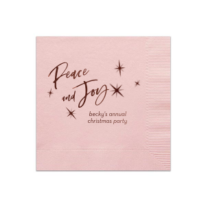 Our custom Pink Linen Like Cocktail Napkin with Shiny Merlot Foil has a Twilight graphic and is good for use in Star, Winter, Holiday and Christmas themed parties and will give your party the personalized touch every host desires.