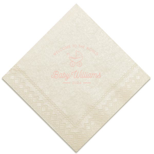Personalize this adorable Pastel Pink and Matte Black Welcome To The World napkin. Give your shower the customized complement every host desires with your attention to detail that your guests and soon to be new Mama will swoon over.