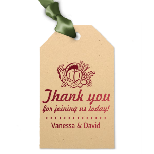 Our custom Natural Sand Square Gift Tag with Shiny Merlot Foil has a Thanksgiving graphic and is good for use in Holiday themed parties and will look fabulous with your unique touch. Your guests will agree!