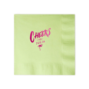 Custom Leaf Green Cocktail Napkin with Shiny Fuchsia Foil has a Flamingo graphic and is good for use in Animals, Organic, Birthday themed parties and will make your guests swoon. Personalize your party's theme today.