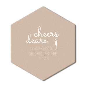 "Cheers Dears - White - Hexagon Coasters - Personalized - Set of 75 - 4 x 4"""" by ForYourParty.com"
