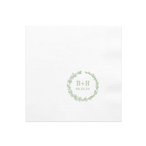 Our personalized Brownie Cocktail Napkin with Shiny Green Tea Foil has a Leaf Frame graphic and is good for use in Wedding themed parties and couldn't be more perfect. It's time to show off your impeccable taste.