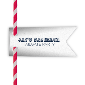 Say goodbye to the single days with a tailgate to remember (or forget). Ideal for a baseball themed bachelor party, personalize these straw tags for a home run bar accent! Our classic varsity sports block font will be the perfect complement to your groom's name.