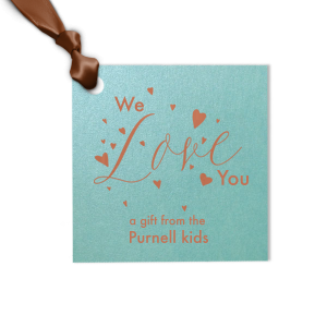 Our custom Stardream Tiffany Blue Diamond Gift Tag with Satin Copper Penny Foil has a Love Hearts graphic and is good for use in Words, Wedding, Anniversary themed parties and couldn't be more perfect. It's time to show off your impeccable taste.