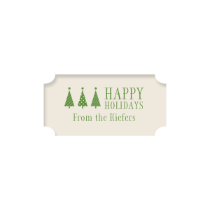 Our custom Classic Crest Ivory Rectangle Label with Matte Moss Green Ink Color has a 3 Trees graphic and is good for use in Christmas themed parties and will look fabulous with your unique touch. Your guests will agree!