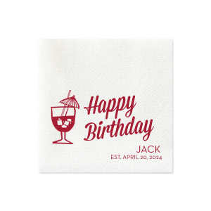 Our beautiful custom Lipstick Red Cocktail Napkin with Matte White Foil has a Tiki Drink 2 graphic and is good for use in Drinks, Beach/Nautical themed parties and can be customized to complement every last detail of your party.