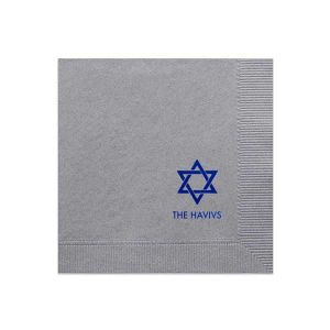 The ever-popular Dove Gray Cocktail Napkin with Shiny Sky Blue Foil has a Star 1 graphic and is good for use in Stars, Jewish Symbols themed parties and are a must-have for your next event—whatever the celebration!