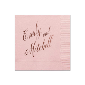 Personalized Merlot Cocktail Napkin with Shiny Champagne Foil Color can be customized to complement every last detail of your party.