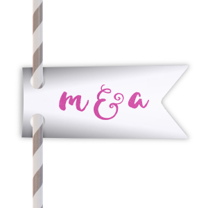 Our custom Natural Frost White Rectangle Straw Tag with Satin Fuchsia Foil Color will give your party the personalized touch every host desires.