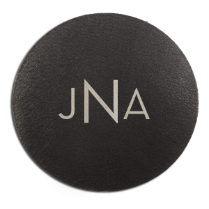 Personalized Black Leather Leather Round Coaster with Shiny Sterling Silver Foil can be customized to complement every last detail of your party.