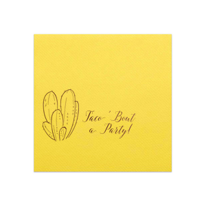 Personalized Pastel Yellow Cocktail Napkin with Shiny Convertible Red Foil has a Cactus graphic and is good for use in Floral, Southwestern and Taco themed parties and can be customized to complement every last detail of your party.