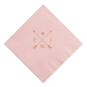 Our custom RECYCLED Ballet Pink Cocktail Napkin with Shiny Rose Gold Foil has a Cross Arrows graphic and is good for use in Whimsy wedding themed parties and will add that special attention to detail that cannot be overlooked.