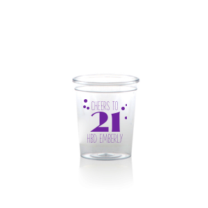 Our custom Matte Amethyst Ink Plastic Shot Glass with Matte Amethyst Ink Print Color can be personalized to match your party's exact theme and tempo.