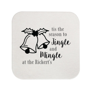 Custom White Round Coaster with Satin Lipstick Red Foil Color has a Holiday Bells graphic and is good for use in Holiday, Christmas themed parties and are a must-have for your next event—whatever the celebration!