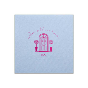 Our personalized Powder Blue Cocktail Napkin with Shiny Fuchsia Foil has a Door graphic and is good for use in Home themed parties and will impress guests like no other. Make this party unforgettable.