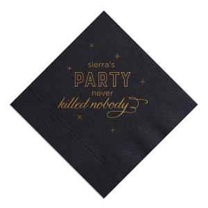 Our personalized Black Cocktail Napkin with Shiny Copper Foil can be customized to complement every last detail of your party.