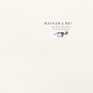 ForYourParty's personalized Lettra Pearl White 110lb Invitation Envelope with Navy Ink Letterpress Inks has a Decorative Flourish 2 graphic and is good for use for Wedding invitation envelopes and will make your guests swoon. Personalize your party's theme today.