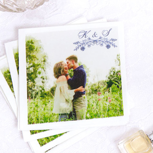 Personalized White Borderless Photo/Full Color Cocktail Napkin with Matte Navy Ink Digital Print Colors has a Rose Laurel graphic and is good for use in Wedding, Floral themed parties and will add that special attention to detail that cannot be overlooked.