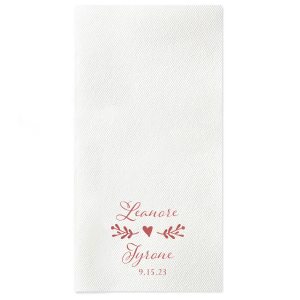 ForYourParty's elegant White Linen Like Petite Napkin with Shiny Rose Quartz Foil has a Twig Flourish graphic with a sweet heart and is good for use Floral, Wedding and Garden themed parties and couldn't be more perfect. It's time to show off your impeccable taste.
