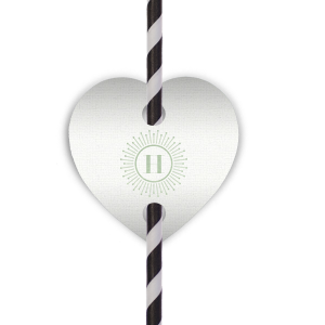 Our personalized Linen White Heart Straw Tag with Shiny Green Tea Foil Color has a sunburst frame 2 graphic and is good for use in Frames themed parties and are a must-have for your next event—whatever the celebration!