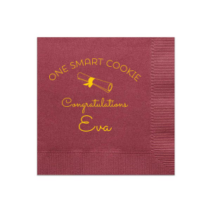 Our custom Merlot Cocktail Napkin with Matte Sunflower Foil has a Graduation Scroll graphic and is good for use in Graduation themed parties and can be customized to complement every last detail of your party.
