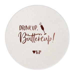 Personalized Eggshell Scallop Coaster with Shiny Merlot Foil has a Single flute graphic and is good for use in Drinks, Holiday, and Wedding themed parties and can be customized to complement every last detail of your party.