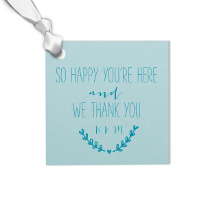 Custom Poptone Kiwi Square Gift Tag with Satin Teal / Peacock Foil has a Heart Branch graphic and is good for use in Welcome, Wedding themed parties and couldn't be more perfect. It's time to show off your impeccable taste.